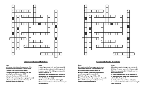 DNA, RNA & Protein Synthesis Crosswords (A-level Biology)