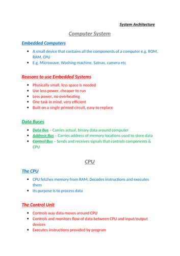 GCSE OCR Computer Science (9-1) Revision Notes