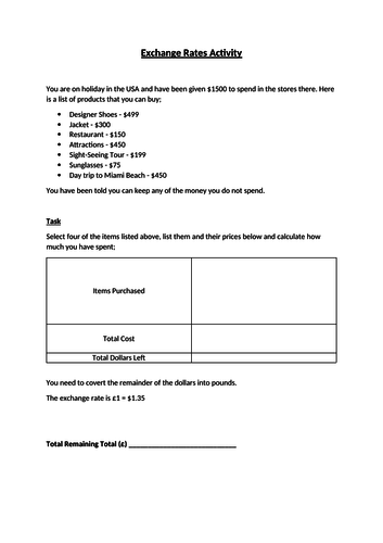 Exchange Rates Worksheet