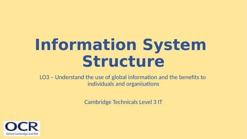 OCR Cambridge Technicals in IT Unit 2 - 3.6 Information system structure
