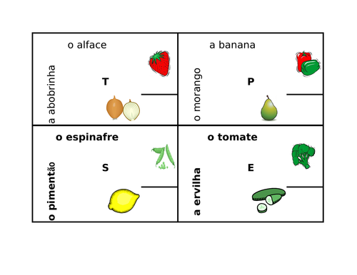 Frutas e Legumes (Fruits and Vegetables in Portuguese) 4 by 4