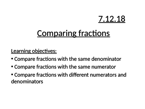 Comparing fractions by num or denom