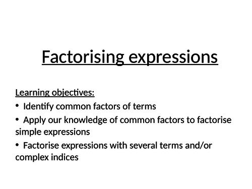 Full lesson factorising expressions