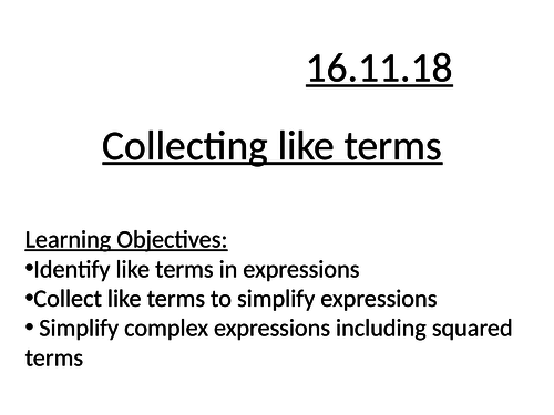 Collecting like terms full lesson