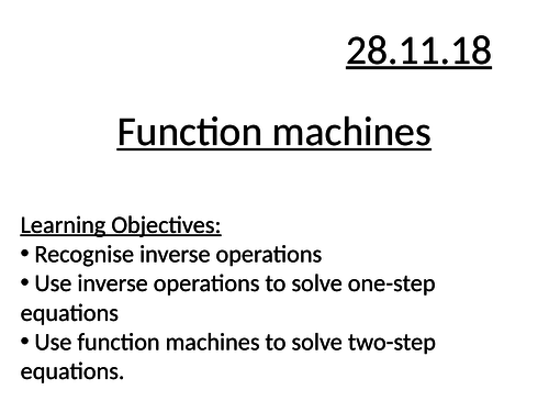 Function machines to solve equations