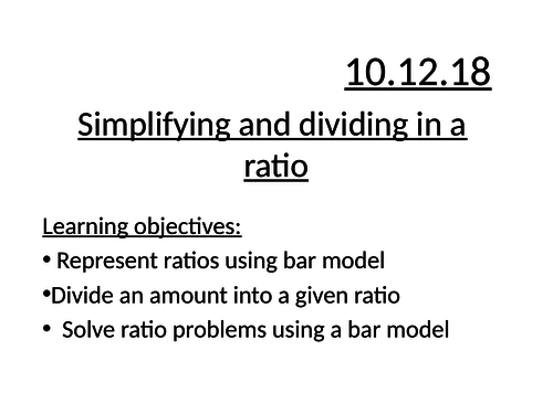 Simplifying and dividing into ratio