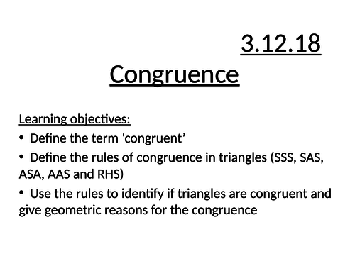Congruence full lesson
