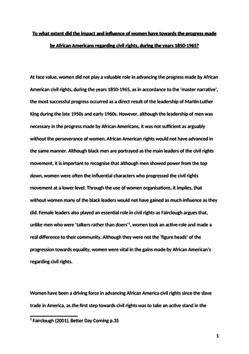 A* A-Level Coursework- African American Civil Rights