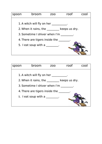 Yr 1 Phonics long /oo/ sentence worksheet