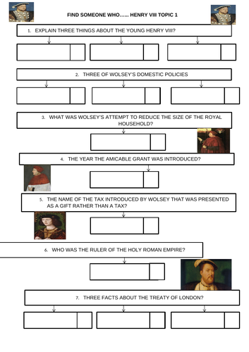 GCSE History Henry VIII and His Ministers Find Someone Who Kagan Activity