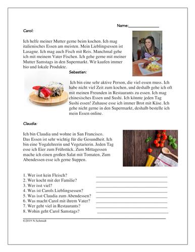 Das Essen Lesung: Easy German Reading on Food