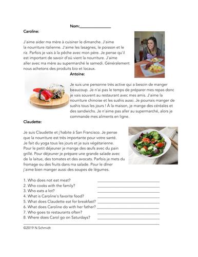 La nourriture Lecture en Français: Food Easy French Reading