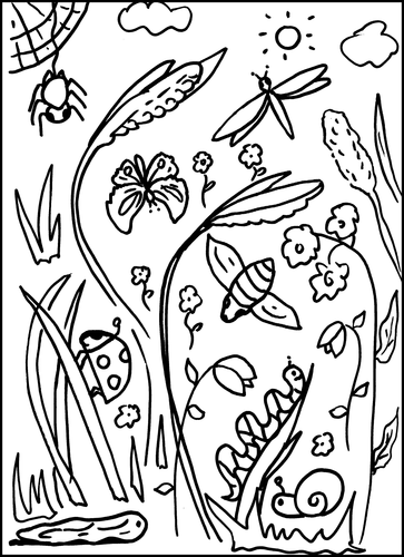 Minibeasts Colouring Sheet