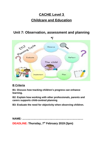 Unit 7: Observation, assessment and planning