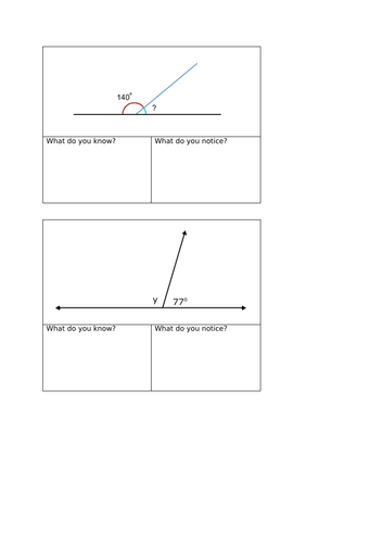 Maths Mastery missing angles on a straight line activity