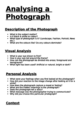 Analysing a Photograph worksheet by SteveNoyce1 | Teaching Resources
