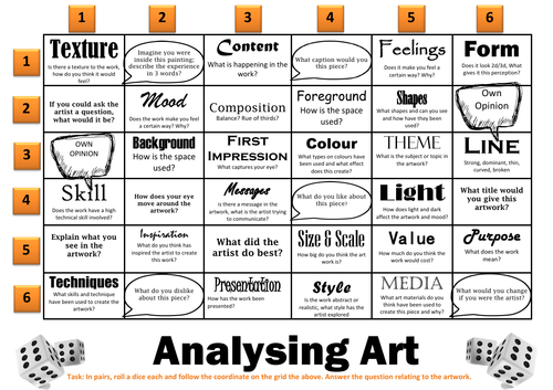 Analysing Art - Discussion Grid Game
