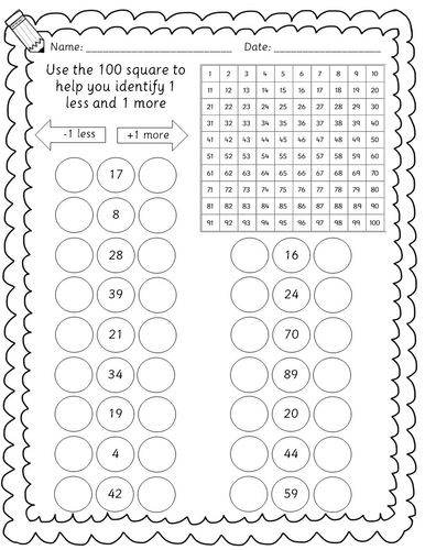 Year 1/2 Maths worksheets - 1 more, 1 less, 10 more, 10 less by ...
