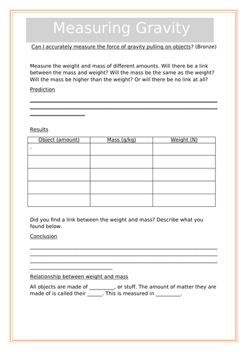 YEAR 6 SCIENCE FORCES/ differentiated 3 worksheets- measuring forces experiment recording sheet