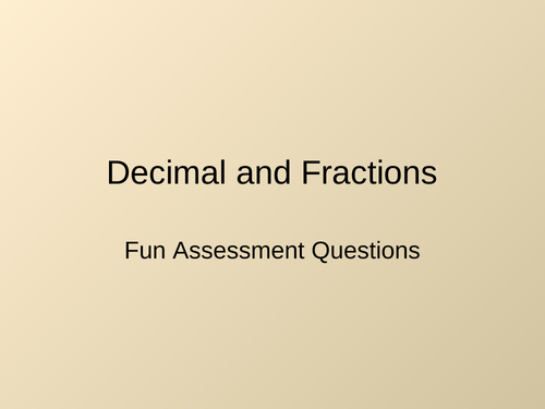 Decimal and Fractions assessment