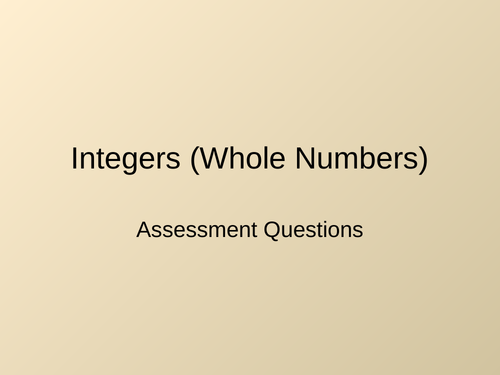 Numbers Assessment