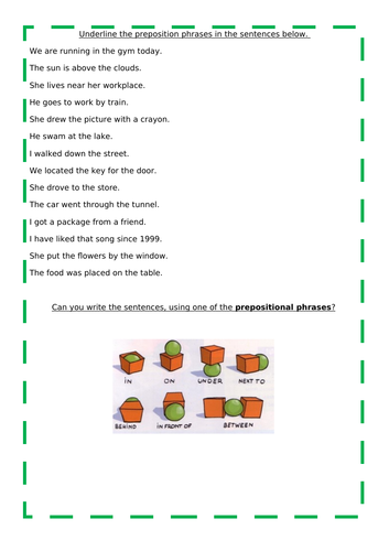 Expanded noun phrases and preposition worksheets