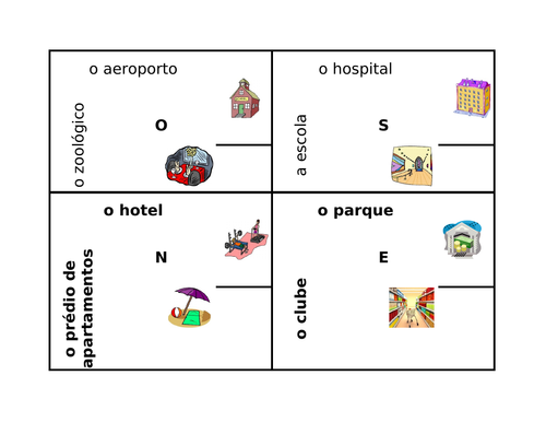 Lugares (Places in Portuguese) 4 by 4