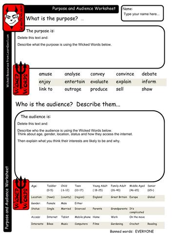 Purpose and Audience Worksheet
