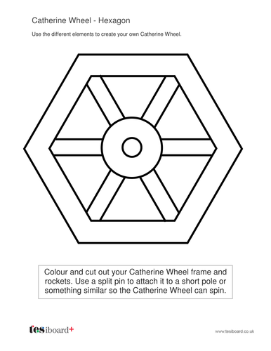 2D Shapes Catherine Wheel Worksheets - KS1 Geometry