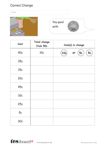 Calculate the Correct Change Worksheet - Measurement KS1