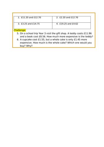 Year 3 - Maths - Money (Unit of Work)