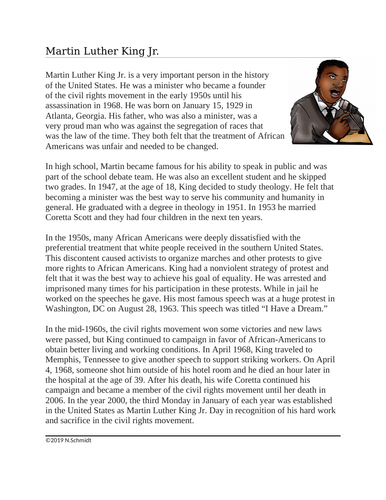 Martin Luther King Jr. Biography: MLK Day / Black History Month