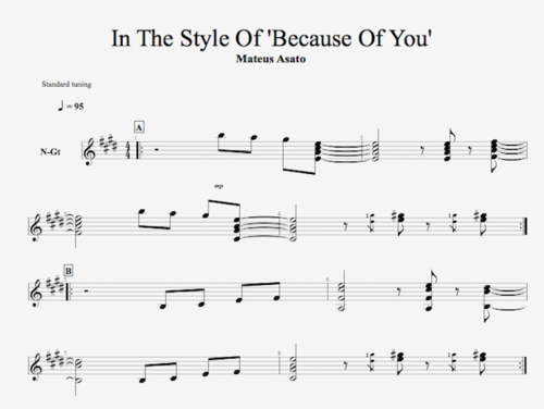 In the style of Mateus Asato 'Because of You' - Guitar
