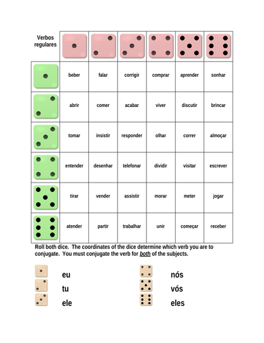 Verbos regulares (Portuguese Regular Verbs) Dice Game
