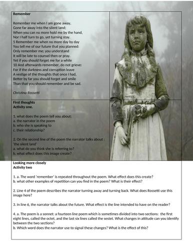 Poetry worksheet - Remember