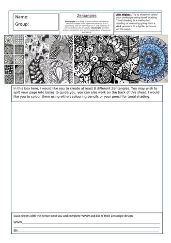 KS3 Art cover work Zentangles