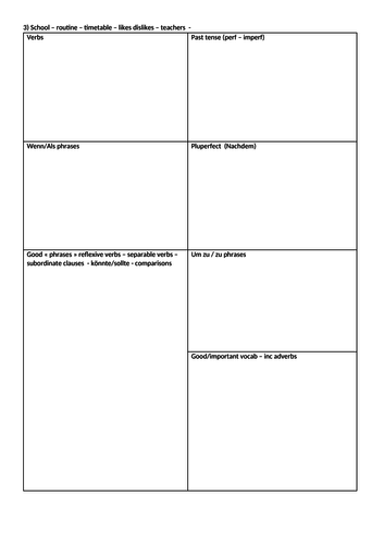 GCSE Topic sheets for filling in
