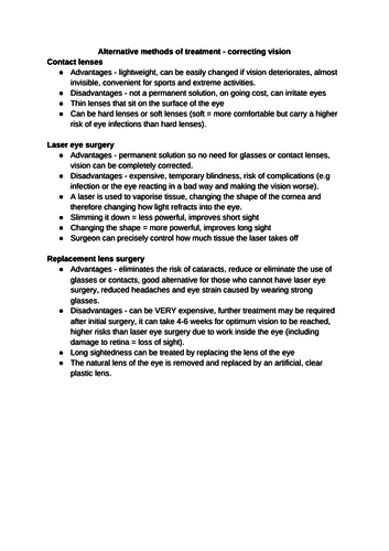 Correcting vision - GSCE Biology AQA