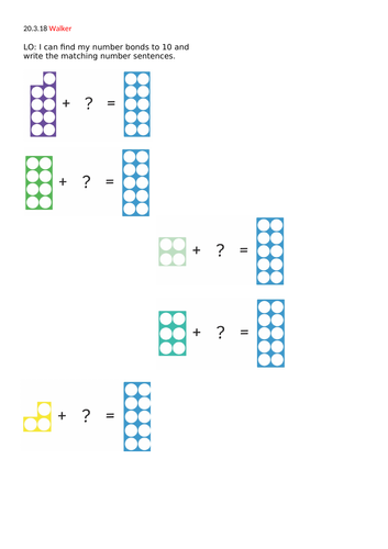 Number bonds using numicon Year 1