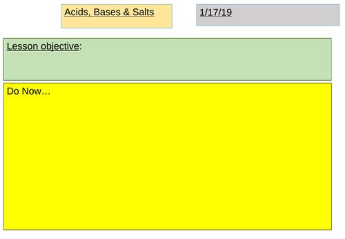 Unit 7: Acids, Bases & Salts