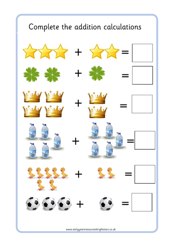 Picture Addition Worksheet by BrightStarsEYR | Teaching ...