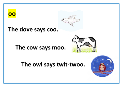 """Phonic """"oo"""" reading card, illustrated"""