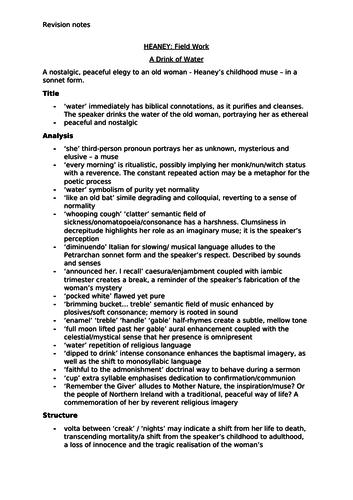 A* Analysis of Seamus Heaney's Field Work