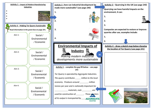 AQA GCSE Geography Worksheet on the Impacts of Industry on the Physical Environment and Tor Quarry