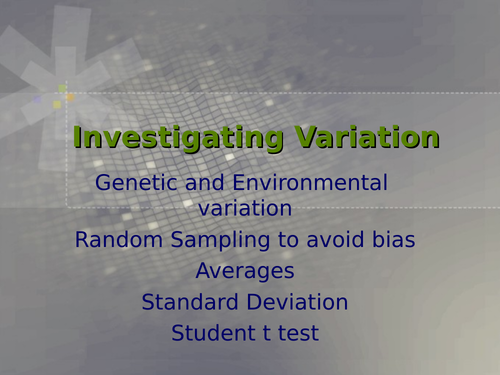 AQA A Level Biology - Variation and Statistical Tests