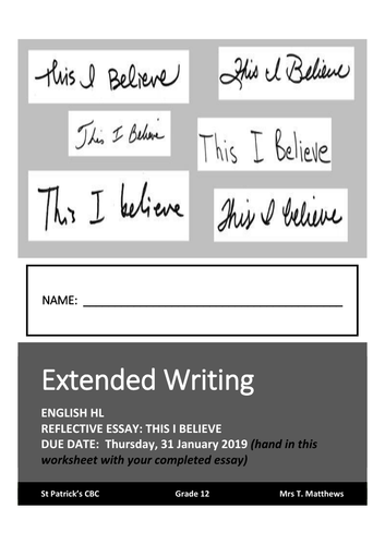 Extended writing - Reflective Essay - This I Believe