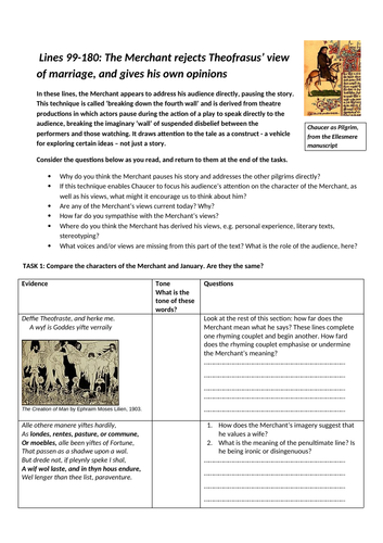 The Merchant's Tale', A Level English Literature worksheets, part 3 ...