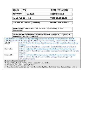 Handball - Passing, Dribbling and Receiving