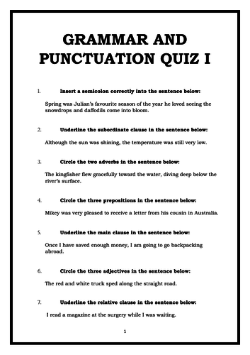 Year 5/6 Grammar, Punctuation and Spelling Quiz