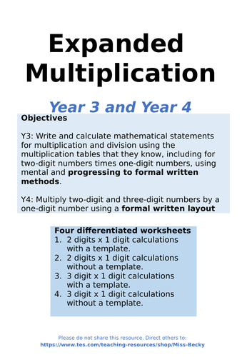 Expanded Column Multiplication - Differentiated Worksheets for Year 3 / Year 4